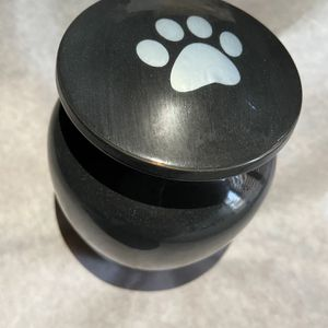 Brass Black Pet Urn With Silver Paw Print for Sale in Irvine, CA