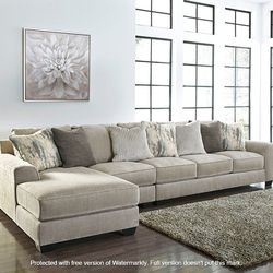 NEW, LARGE, L SHAPPED, LAF CORNER CHAISE SECTIONAL, PEWTER COLOR. for Sale in Chino,  CA