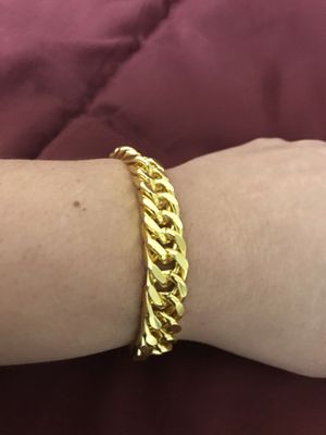 "3 different bracelets available for $50 each 8"" gold plated custom jewelry still available for pick up in Gaithersburg md20877 for Sale in Gaithersburg, MD"