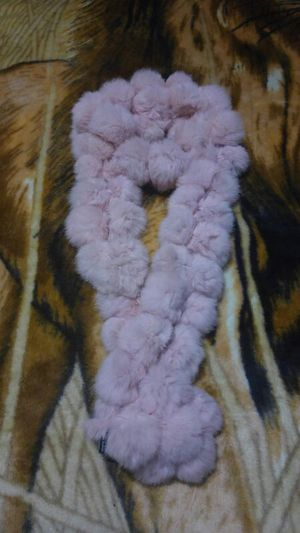 Cejon pink Rabbit Fur Pom Pom Scarf located, used for sale  the 90th and Roosevelt