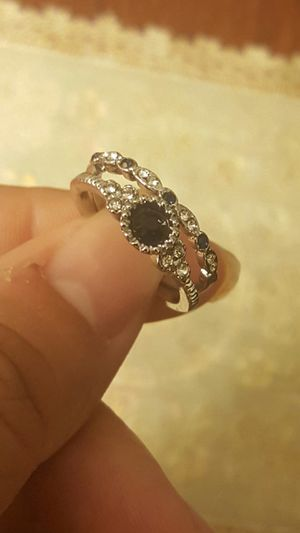 Women fashion blue sapphire wedding ring set size 7 for Sale in Moreno Valley, CA