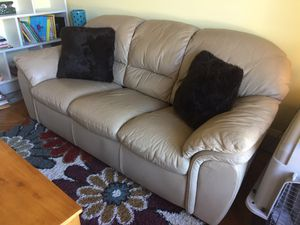 Tan 100% Premium Cowhide Leather Couch from Macy's Furniture - Excellent Condition! for Sale in Buford, GA