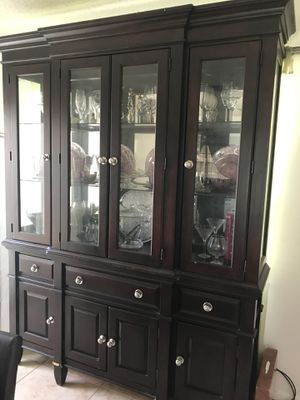 Cherry Wood Glass China Cabinet for Sale in Lady Lake, FL