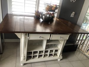 Wood kitchen island white wine and storage space for Sale in Garden Grove, CA
