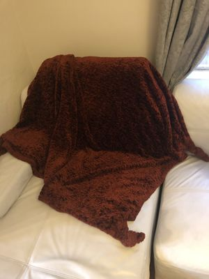 Plush Rust colored throw blanket with knitted corner. for Sale in Clayton, MO