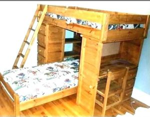 Wooden Bunk Bed with Desk & Drawers NO CHAIR for Sale in Sachse, TX