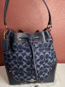 Coach Mickie Denim Jacquard Drawstring Shoulder Bag for Sale in McAllen,  TX