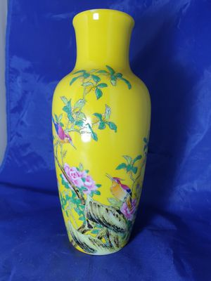 Chinese Jin De Zhen Yellow Glaze Flower and Dirds Republic Vase. for Sale in ROWLAND HGHTS, CA