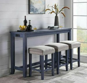 4-Piece Blue Counter Height Table Set with USB Oulet for Sale in Ontario, CA