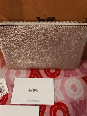 Coach purse handbag Wristlet new with gift care tags and gift box tissue etc. 100% authentic or your money back metallic platinum silver for Sale in Redlands, CA