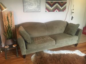 Lovely Sage microfiber couch from Pier 1 for Sale in Denver, CO