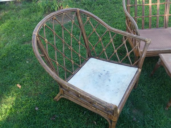 Rattan furniture, table and dining chair