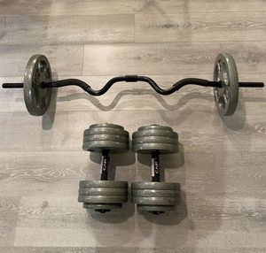 120LB Weight Set with Curling Bar - New! for Sale in Irvine, CA