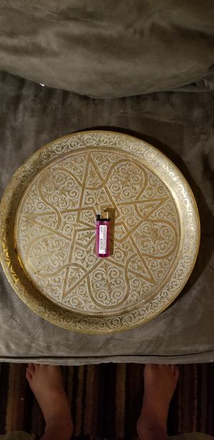 Antique Beautiful heavy brass plate for Sale in Gladstone, OR