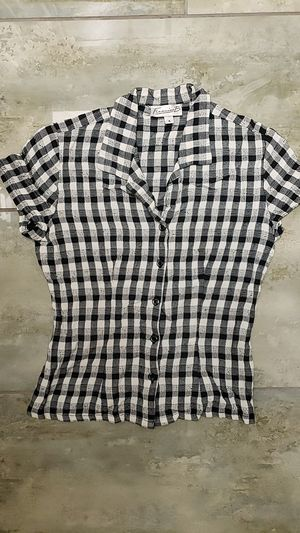 Francine B size 6 button-up collared black and white plaid shirt punk goth kids alternative rock halloween costume for Sale in Scottsdale, AZ