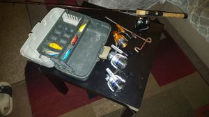 Fishing reels, box, rod and rod holder for Sale in Concord, CA