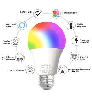 100% new Smart Alexa Light Bulbs, WiFi LED Bulbs 2 Pack for Sale in San Jose, CA