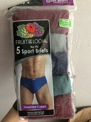 Brand new fruit of the loom sport briefs assorted colors 5 pack size small for Sale in Davie, FL
