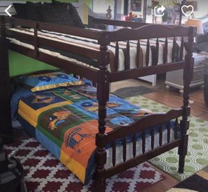 """Bunk bed elegance twin/ twin cherry """" mattress separate for Sale in Norcross, GA"""