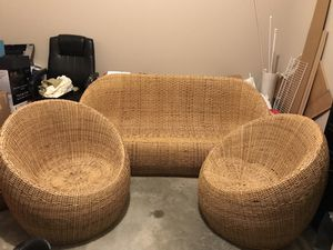 2 Papasan chairs + couch for front porch for Sale in Lilburn, GA
