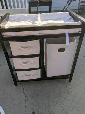 Changing Table With Drawers and Laundry Basket for Sale in Cypress, CA