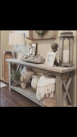 "Slatted rustic ""x"" console table for Sale in Pittsburgh, PA"