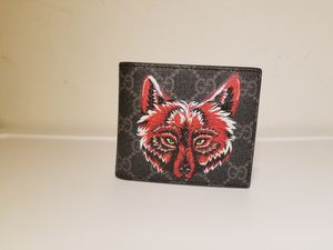Gucci Supreme Wolf Printed Black Leather Men's Wallet for Sale in Queens, NY