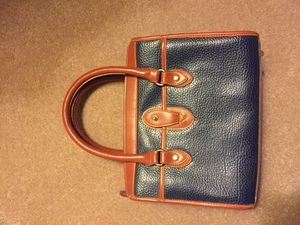 Navy/brown leather purse for Sale in Golden, CO