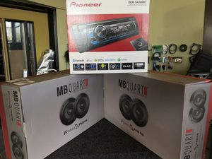 Car audio deal. Pioneer stereo Bluetooth am fm CD player usb aux with 2 sets of brand new mb quart speakers all brand new finance available 100 days for Sale in Fremont, CA
