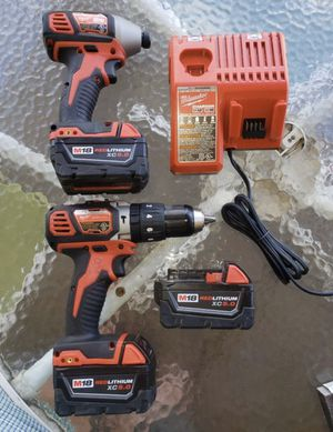 Combo Drill & Impact Milwaukee, Charger and 3 Batteries M18 5.0 Volt for Sale in Philomont, VA