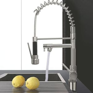 New Kitchen Faucet Pull Down Sprayer, 18-Inch Modern Spring Faucet Brushed Nickel Single Handle Kitchen Faucets Dual Spray Head for Sale in San Bernardino, CA