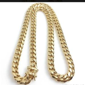 Miami Cuban Link 18K Gold Plated Stainless Steel Jewelry High Polished Miami Cuban Link Necklace Men Punk 14mm Curb Chain 30 in for Sale in Salt Lake City, UT