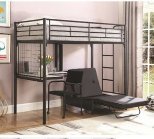 Twin size bunk bed with workstation free delivery!! for Sale in Riverdale, GA