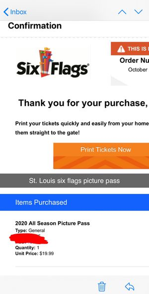 Six flags 2019-2020 picture pass for Sale in St. Louis, MO