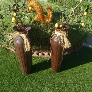 Set Vases Of Metal 3 Ft. Tall. With Fake Guava Plants for Sale in Henderson, NV