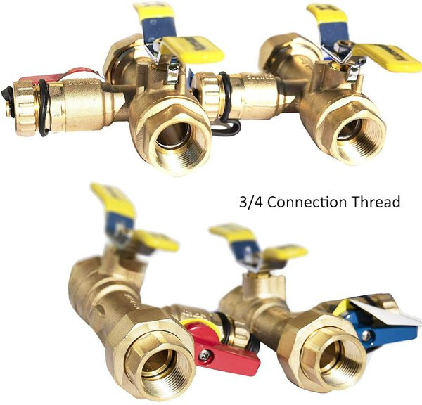 3/4-Inch IPS Isolator Tankless Water Heater Service Valve Kit with Clean Brass Construction (FNPTxFNPT)