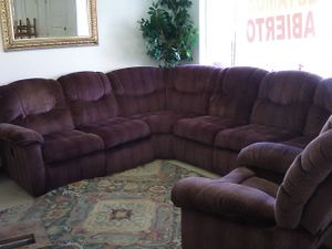 Fabric reclining sectional sofa and chair set for Sale in Tampa, FL