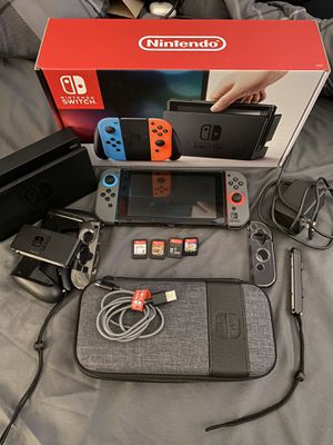 Nintendo Switch w/ 4 Games + Travel Case + MORE for Sale in Milford, MA