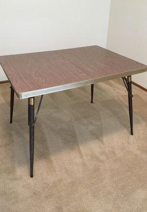 Midcentury modern, Vintage table. Formica top in wood grain pattern, metal legs for Sale in Bothell, WA