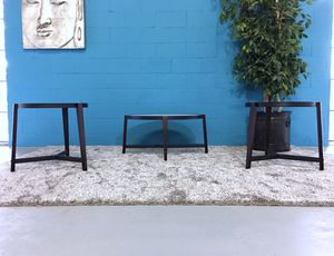 ***Coaster Set of 3 Iron and Frosted Glass Coffee Table Set (Free Delivery) for Sale in East Point, GA