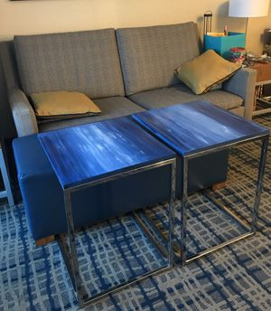 Slide Tables - hand painted in blue tones. for Sale in Brookline, MA