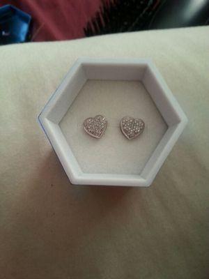 10k white gold heart earrings for Sale in Boston, MA
