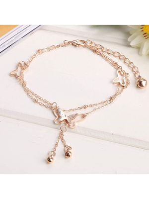 Rose Gold Butterfly Dangle Ankle Bracelet - 14k Gold Plated Handmade Charm Anklet / Bracelets | Must Have! LIMITED SUPPLY Fits All Sizes! for Sale in Milwaukee, WI