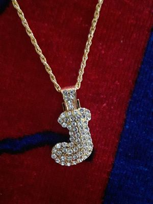 20 inch gold plated rope chain with icy cz J charm. Great gift for man or woman. 70 obo for Sale in Mechanicsburg, PA