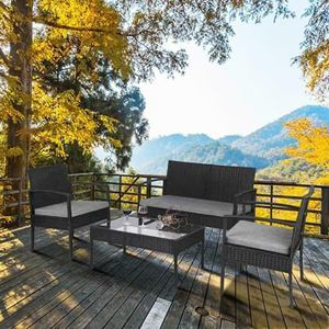 SHIPPING ONLY 4 Piece Outdoor Patio Furniture Set w/Couch Table and Chairs Grey for Sale in Las Vegas, NV
