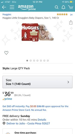 NEW HUGGIES SIZE 1 DIAPERS 140 count $20 each for Sale in Costa Mesa, CA