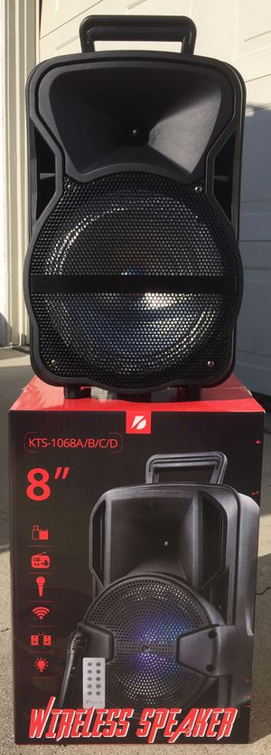 Eight inch Rechargeable Bluetooth speaker/aux/Fm/USB and SD port/many styles available!! Brand new! for Sale in Moreno Valley, CA