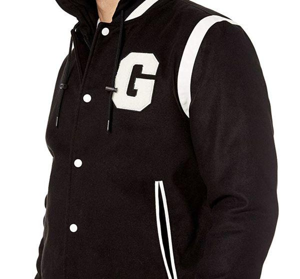 Men's Hooded Varsity Jacket in Black