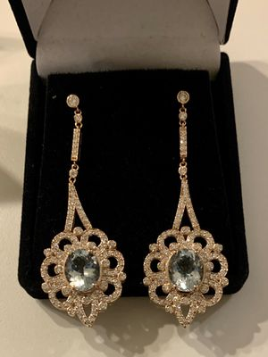 14K Gold Aquamarine & Diamond Earrings for Sale in Vienna, VA