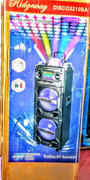 RIDGEWAY./ PORTABLE SPEAKER BLUETOOTH / FMRadio /KARAOKE /USB. TFCARD / AUX. MP3. CONTROL REMOTE / 🎤 MICROPHONE INC. (4000W) BATTERY RECARGABLE for Sale in Moreno Valley, CA